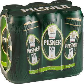 Pilsner Öl 2.8% 6-pack Burk 6x50cl Harboe