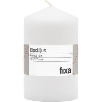 Blockljus Vit 12cm Fixa