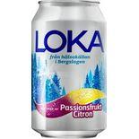 Passionsfrukt Citron Kolsyr Vatten Burk Loka 33cl