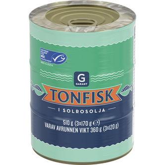Tonfisk i Solrosolja 3x170g Garant