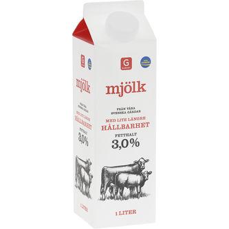 Mjölk Längre Hållbarhet Fetthalt 3,0% 1l Garant