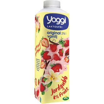 Vaniljyoghurt Jordgubb Laktosfri 2% 1000g Yoggi
