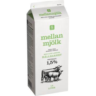 Mellanmjölk Längre Hållbarhet 1,5% 1.5l Garant