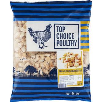 Kycklingfilé Tärnad Grillad Fryst 2,5kg Top Choice