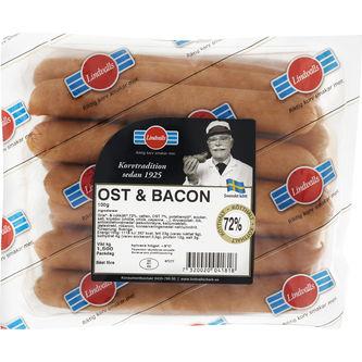 Korv Ost & Bacon Skinnfri 15-p 1.5kg Lindvalls
